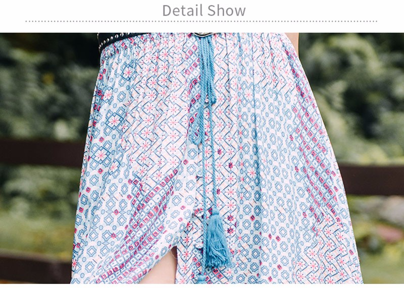 Elastic Waist Colour A-Line printed Slit Maxi Skirts 2016 Cotton Casual Long Split Skirt High Waist Pleated Skirt
