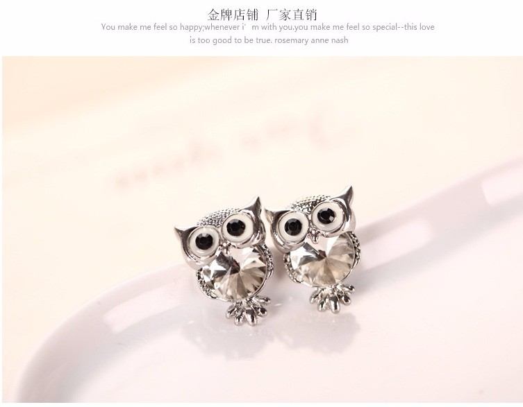 New Design Crystal Women Charms Owl Stud Earrings Cute Colors Fashion Ruby Jewelry White Gold Plated Trendy For Wedding HFNE0999