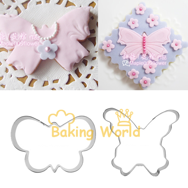 2pcs Butterfly Stainless Steel Cookie Cutter Fondant Sugar Craft Cake Topper Molds Metal Fruit Betro Sandwich Cooking Tools Bake(China (Mainland))