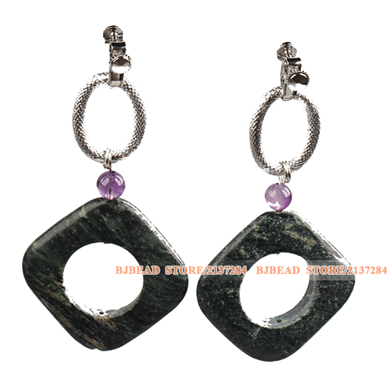 Classic And Trendy Simple Design Female Hollow Green Picture Jasper Amethyst Dangle Earrings(China (Mainland))