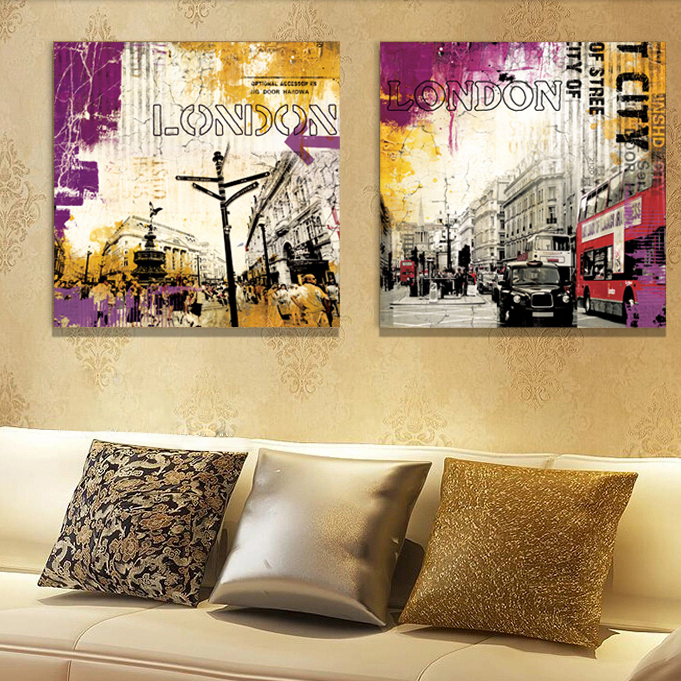 Building London street red bus Canvas Art wall Home Decor Modern Painting Picture Living room bedroom Free shipping(China (Mainland))