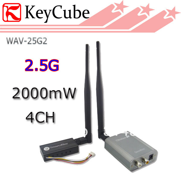 New 2.5G 2W/2000mw Wireless 4CH Audio Video Transmitter & Receiver Kit For FPV Real-time CCTV Camera Free Shipping(China (Mainland))