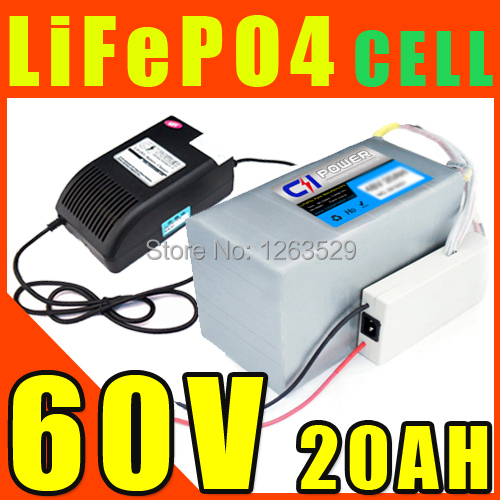 60V 20AH LiFePO4 Battery ,Lithium Battery Electric Scooter Pack E-bike With BMS + Charger + Express 20156020-1(China (Mainland))