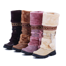 Women Lace Up Fur Lined Winter Warm Flat Knee High Snow Boots Ski Snow Shoe ES88(China (Mainland))