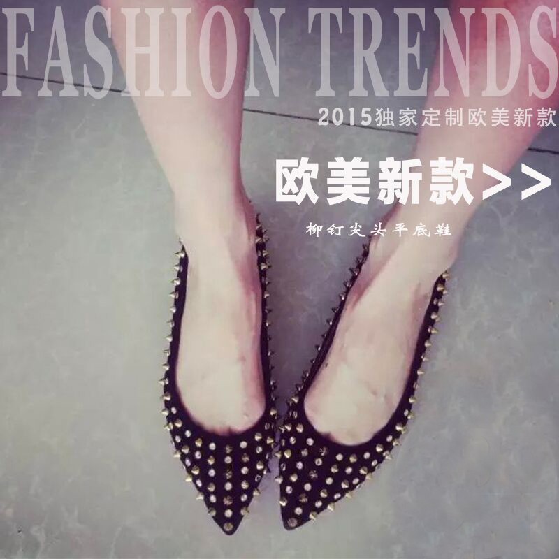 Red sole rivet pointed toe shoes rhinestone genuine leather shallow mouth shoes elevator shoes flat women<br><br>Aliexpress