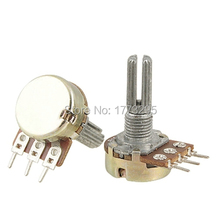 Hot 10 Pcs High Quality 100K ohm Linear 100k Potentiometer 15mm Shaft With Nuts And Washers Hot WH148 104 Resistance For Arduino