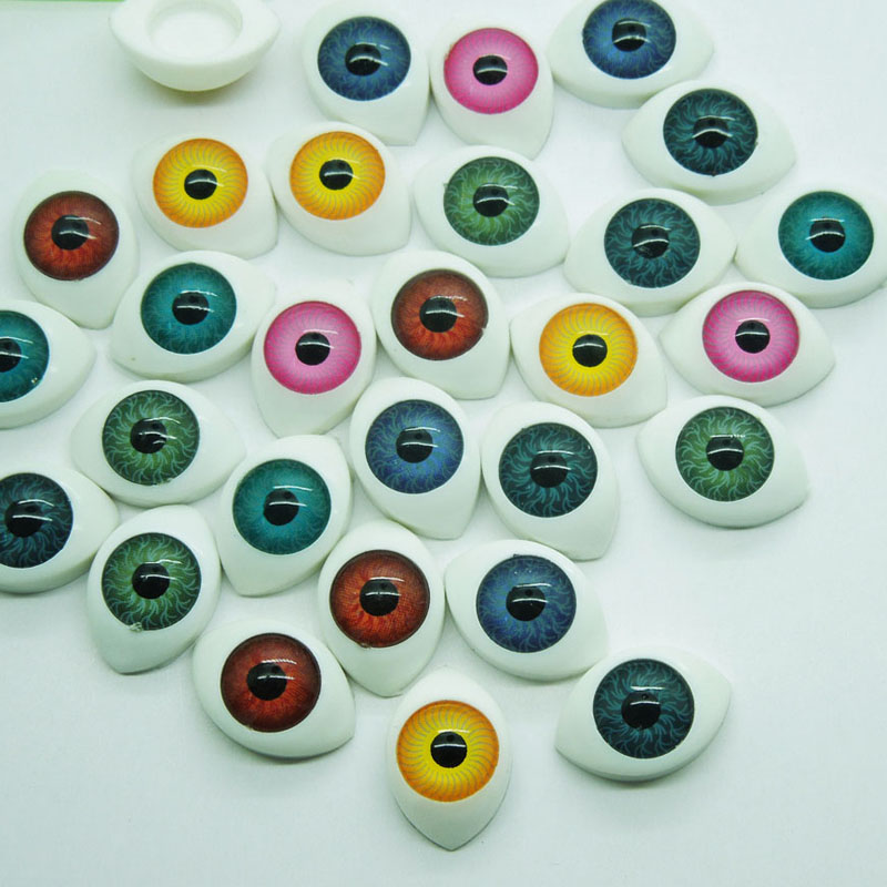 New Arrival 70Pcs (35pairs) 11*16mm Mix color Half Oval Acrylic Plastic Doll Eyes For BJD Dolls Toy Making(China (Mainland))