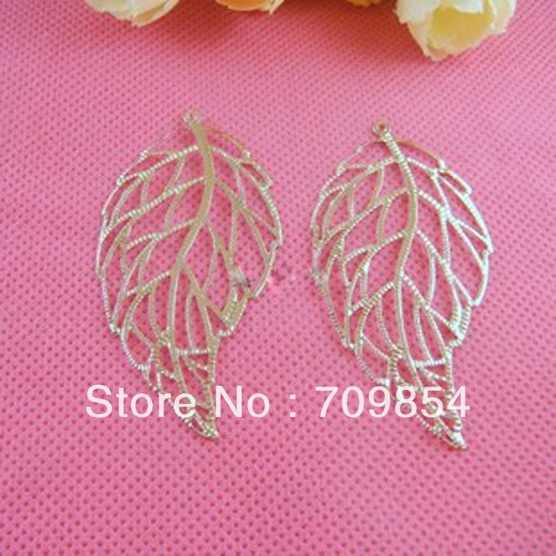 free shipping!!! 100pcs/lot 30*59mm white K leaves filigree wrap earring jewelry findings