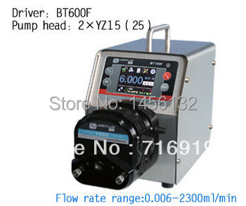BT600F 2 x YZ15 High Efficient Precise Dispensing Peristaltic Pump Dosing Lab Industry Filling Pump Machine Foot Switch Pedal(China (Mainland))