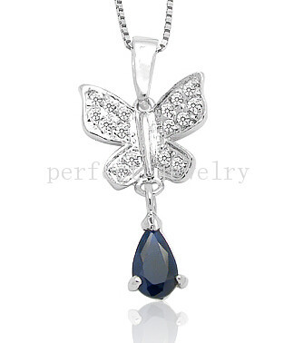 Sapphire necklace pendant Natural real sapphire charm pendants 925 sterling silver Butterfly style #15042405