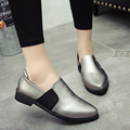2016 New Spring Fall Fashion Hot Women Pointed Toe Casual Shoes Black Sliver Loafers Flat a