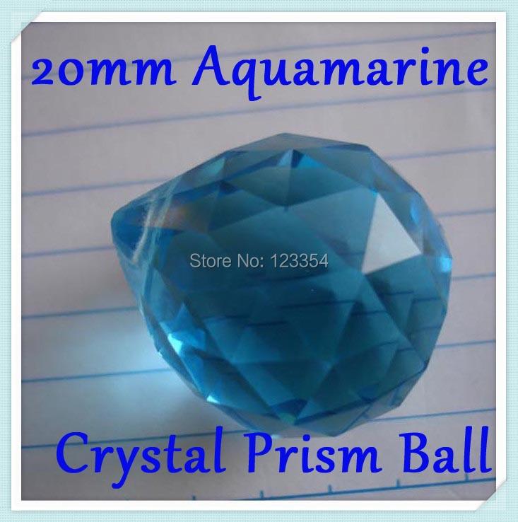 100pcs 20mm Aquamarine Color Chandelier Crystal Ball Prism Feng Shui Pendant Hanging Drops Pendants Fashion Lamparas Colgantes(China (Mainland))