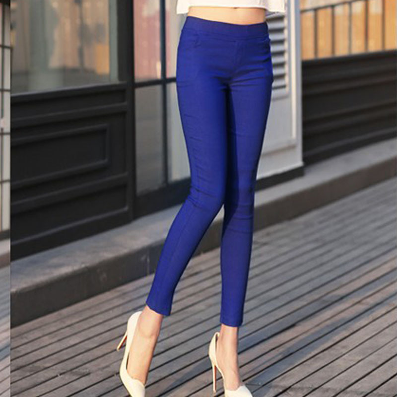 Drop Ship Colored Stretch Fashion Female Candy Colored Pencil Women's Pants Sexy Elastic Cotton Pants OL Trousers(China (Mainland))