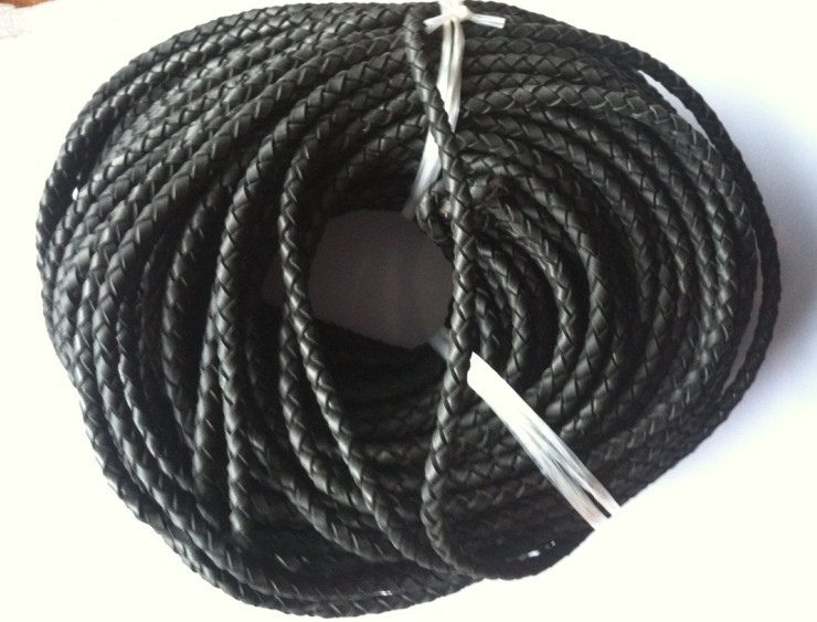 High quality 4 strands black 6mm braided geunine leather cord round 50meters/lot  Free Shipping