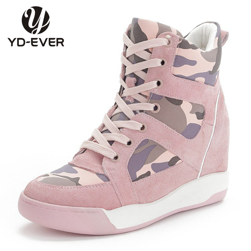 2016 genuine leather Women Casual Shoes Platform Wedge Boots Camouflage Height Increasing Shoes High Top Shoes outdoor boots(China (Mainland))