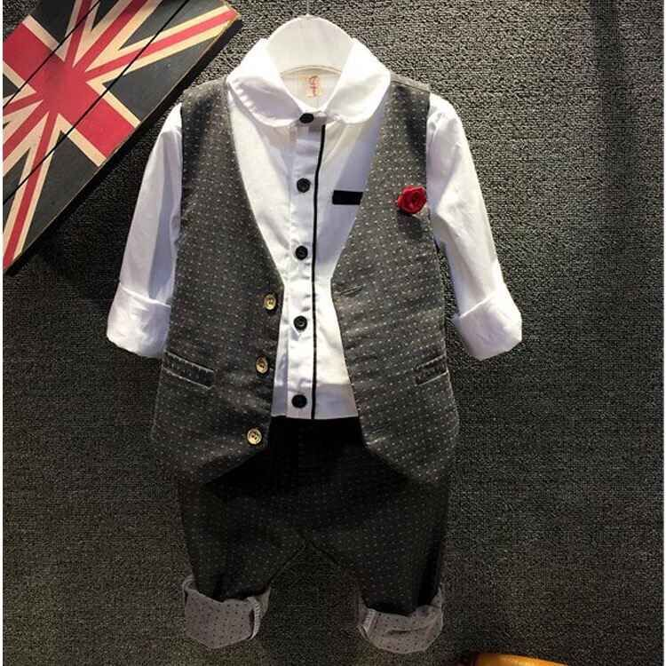 2015 Fashion Baby Boy Clothes Sets Gentleman Suit Toddler