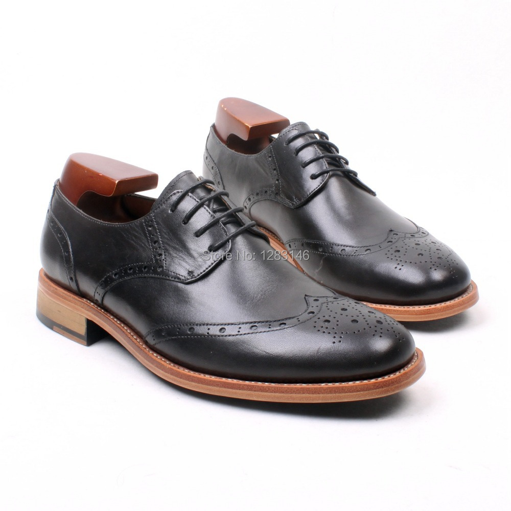 Free Shipping Handmade Leather Upper/outsole/Insole Grey Hand Coloring Derby Goodyear welted Craft Round toe Shoe No.D199(China (Mainland))