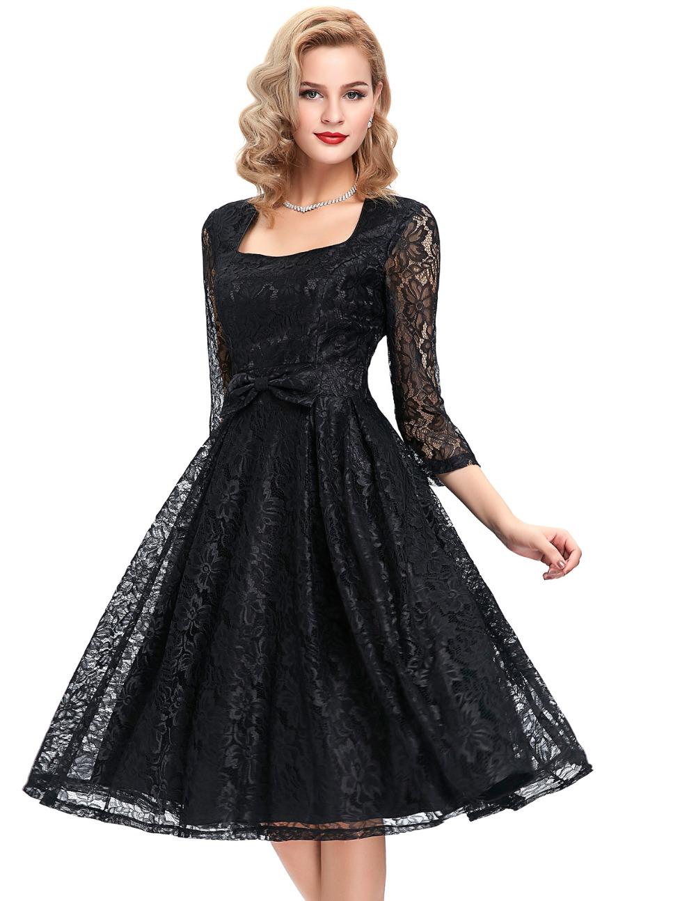 autumn 34 sleeve black lace women dresses 2016 retro