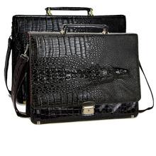 New Black Brown Faux leather Dress Crocodile laptop shoulder bag messenger bag briefcase Office bag men women(China (Mainland))