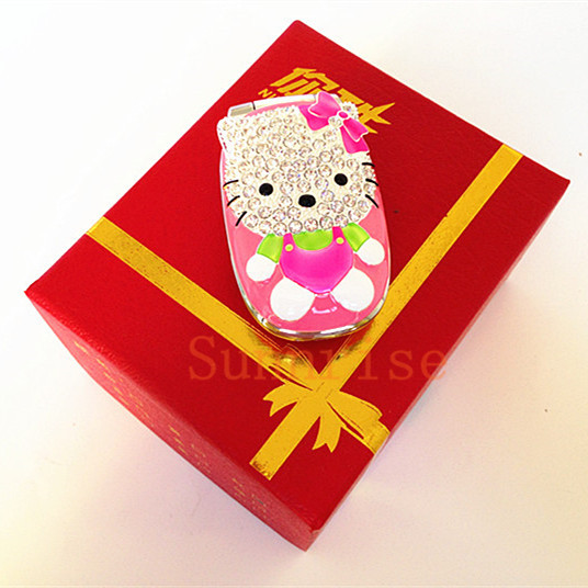 Cute Original NIKIO N669 Flip Hello Kitty Mobile Phone Dual Sim Card Dual Standby Mini Girl Cell Phone Luxury Diamond Phone Gift(China (Mainland))