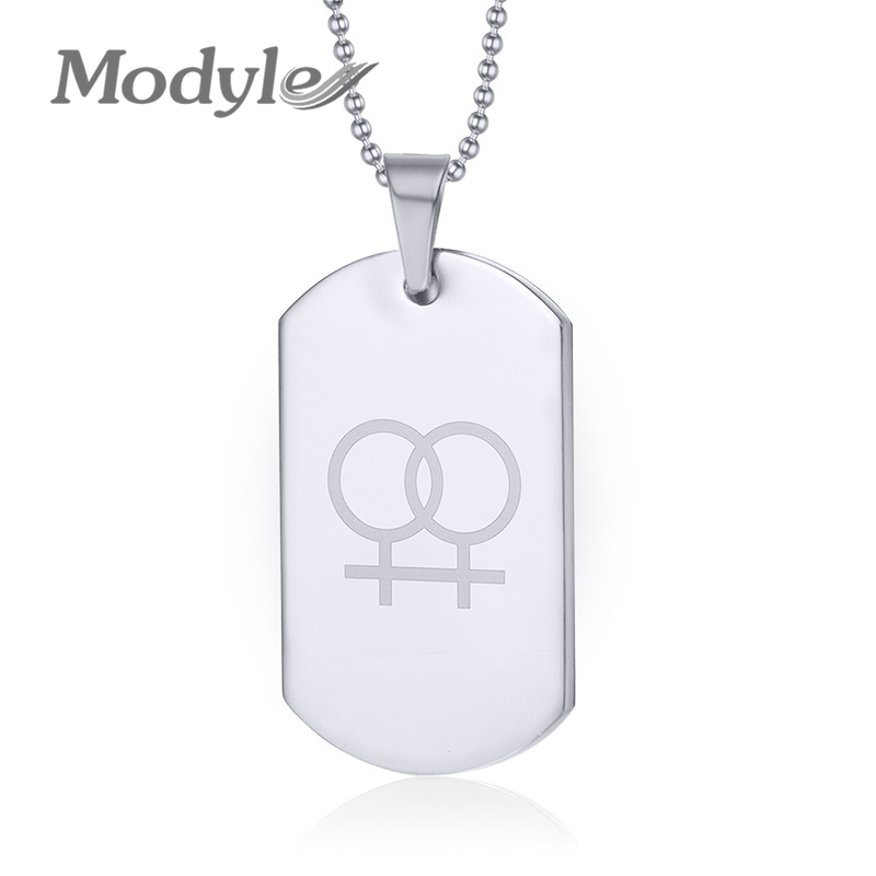 2016 New Lesbian gay pride necklaces pendants for women 316l stainless steel dog tag jewelry wholesale(China (Mainland))