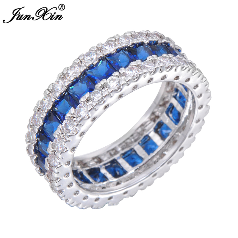 Women Fashion Jewelry 10KT White Gold Filled Finger Rings Ladies Blue Sapphire Size 6/7/8/9/10 Big Promotion <br><br>Aliexpress