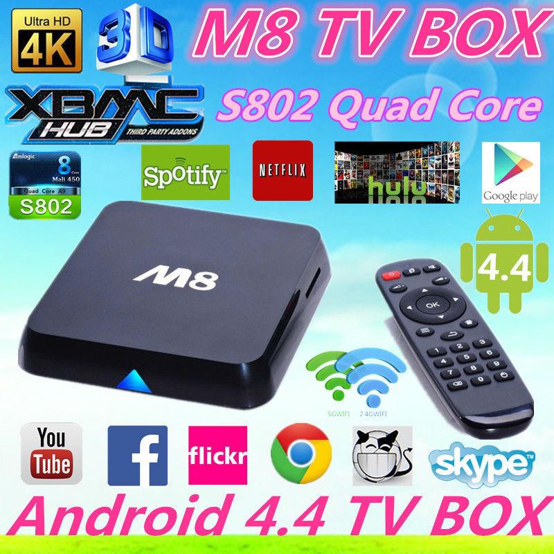 10pcs Amlogic S802 M8 quad Core Android 4.4 Rooted TV Box XBMC Fully Loaded 1GB RAM 8GB ROM Mali450 4K H265 2.4GHz Wifi Mini PC <br><br>Aliexpress
