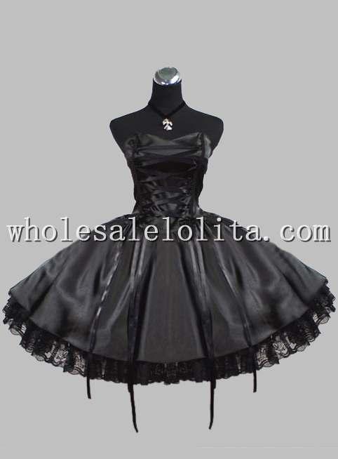 Здесь можно купить  Freeshipping  Gothic Black Lace Up Silk-like Sleeveless Victorian Inspired Prom Dress Freeshipping  Gothic Black Lace Up Silk-like Sleeveless Victorian Inspired Prom Dress Одежда и аксессуары