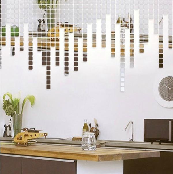 mirror decorative wall sticker,2*2CM square combination,small size,wall art backdrop,unique quotes home decoration - Best Wall store