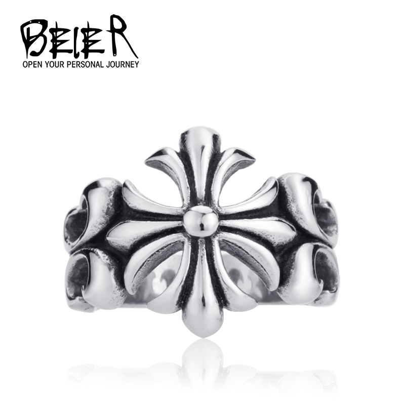 Beier new store 316L Stainless Steel ring high quality New Girl's Fleur De Lis Ring fashion Jewelry BR8-110(China (Mainland))
