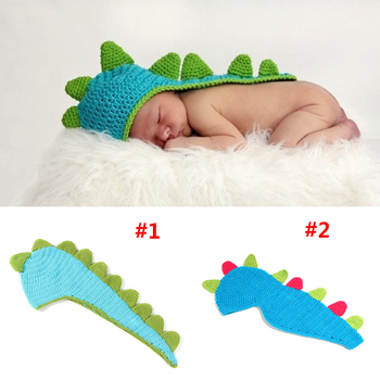 Newborn Baby Crochet Dinosaur Hat Infant Photo Props Kids Knitted Animal Hats Beanies Handmade Caps 1pc  Free Shipping MZS-001