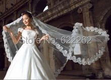 3 Meters Tulle Head White Long 2015 Wedding Veil Cathedral Train Applique Bridal Accessories Hot Sale Organza Bride Veils(China (Mainland))