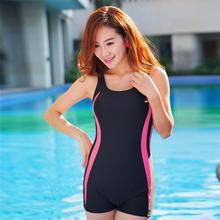 2016 Boxers High Waist Monokini Striped Sport One Pieces Swimsuit Show Thin Bathing Suit For Women Girl Swimwear Plus Size L-2XL