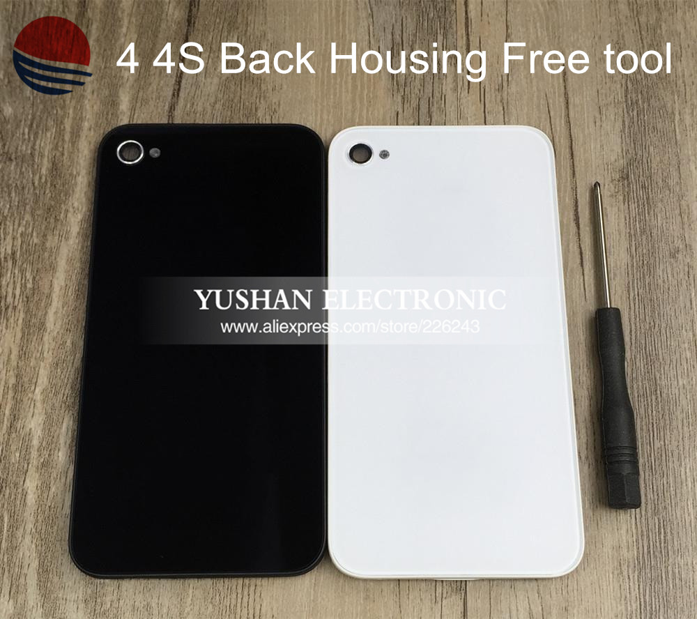 Wholesale 4 4s Housing Back Repair Parts Back Glass Back Housing for iPhone 4 4S Black White Housing Battery Door Free Tools(China (Mainland))