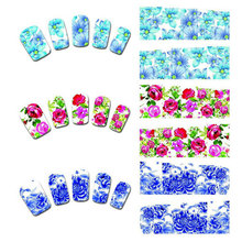 50 Sheets Nail Art Flower Water Tranfer Sticker Nails Beauty Wraps Foil Polish Decals Temporary Tattoos Watermark