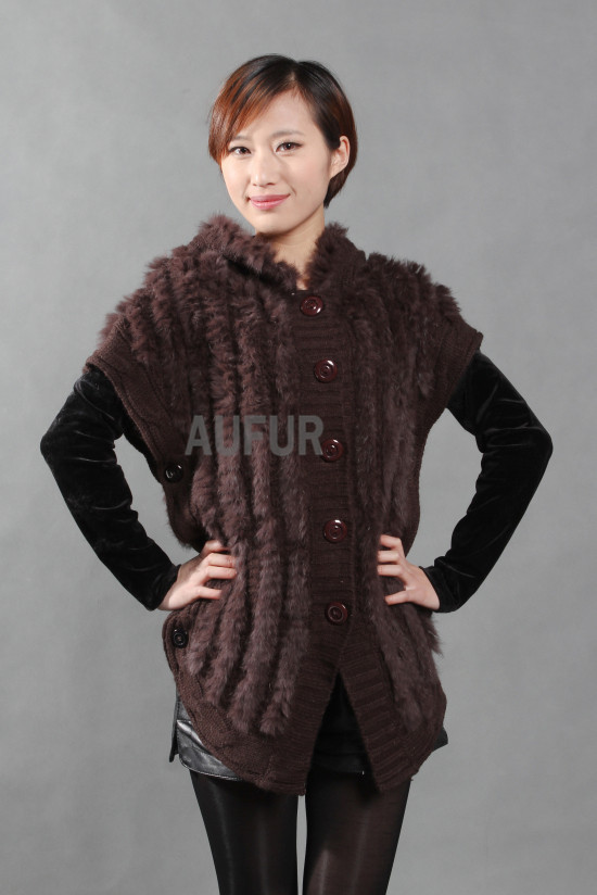 Womens Knitted Rabbit Fur Vest Hooded Woolen Gilet with Side Buttons Waistcoat With Hood Fashion Outwear AU00252(China (Mainland))