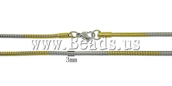 Free shipping!!!Stainless Steel stainless steel lobster clasp,Sexy Jewelry, gold color plated, two-tone, 3mm, Length:18 Inch