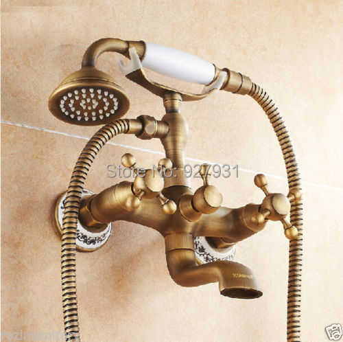 Фотография Good Quality Antique Brass Dual Cross Handles Bathtub Faucet with Handheld Telephone Style Wall Mounted Bathroom Tub Mixer Tap