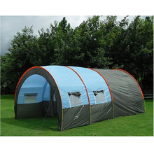 Large Camping tent Waterproof Canvas Fiberglass 5-8 People Family Tunnel 10 Person Tents equipment outdoor mountaineering Party(China (Mainland))