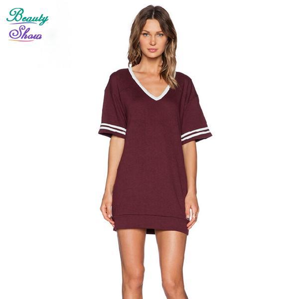 Popular Classic Womens Burgundy Long Sleeve Asymmetrical TShirt Dress