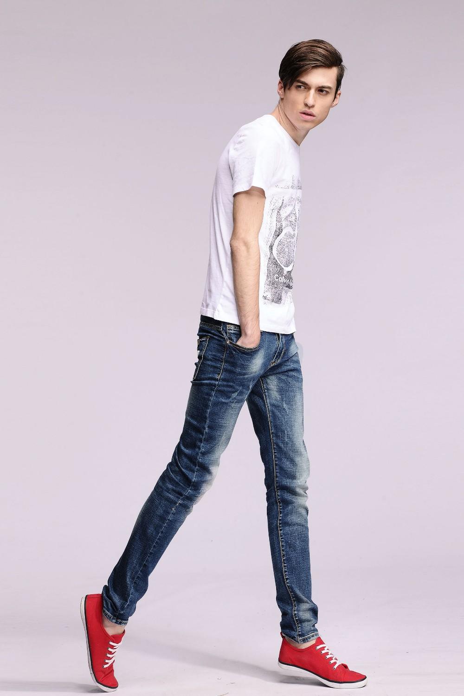 Скидки на Новая Мода Человек Джинсы Карандаш Тонкий Брюки Классические Узкие Джинсы Мужские Эластичные Брюки # YZ6611
