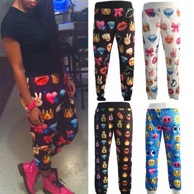 fashion women mens joggers trousers designer 100 emoji 3D printed loose casual long sport jogger pants 2015 elastic waist pant - China Top Vogue Trade Co., Ltd store