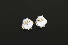 Fashion 925-sterling-silver Matte brushed cute owl earrings for women boucle d'oreille Small animals Charm Jewelry Stud Earring