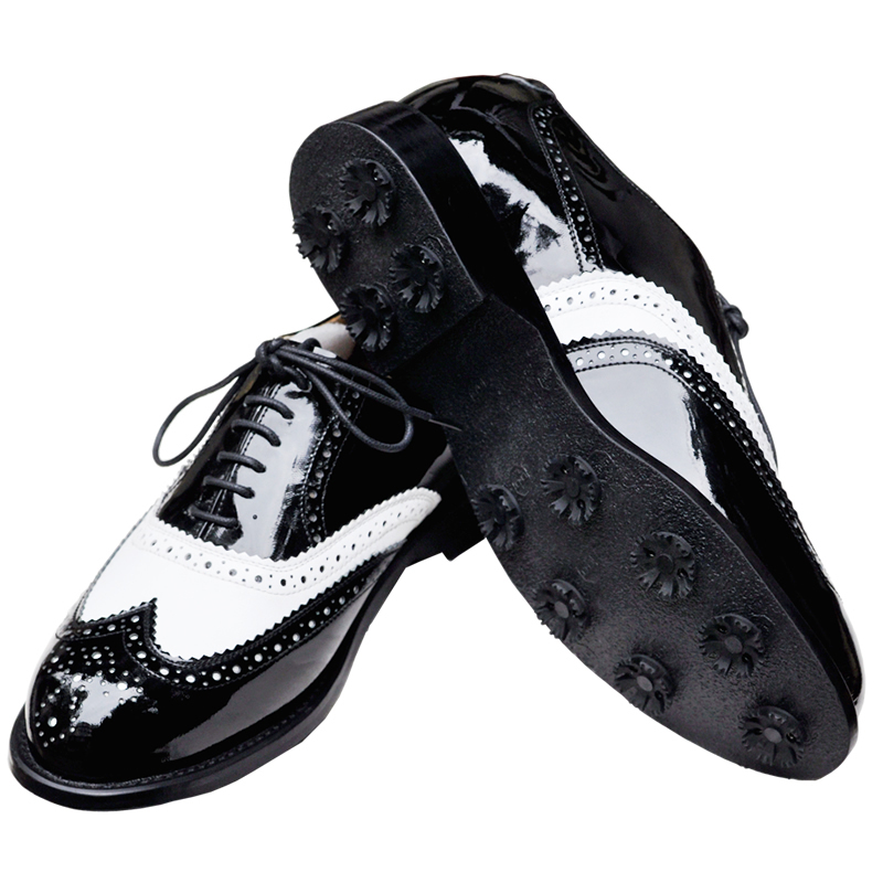 Roof brand handmade leather men's golf shoes tendon soles black white mixed color 101-2 - minghua zhang's store