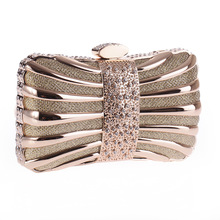 Alloy Minaudiere Crystal Mini Evening Party Bag Women Day Clutches Ladies Long Chain Gold Clutches Purses and Handbag(China (Mainland))