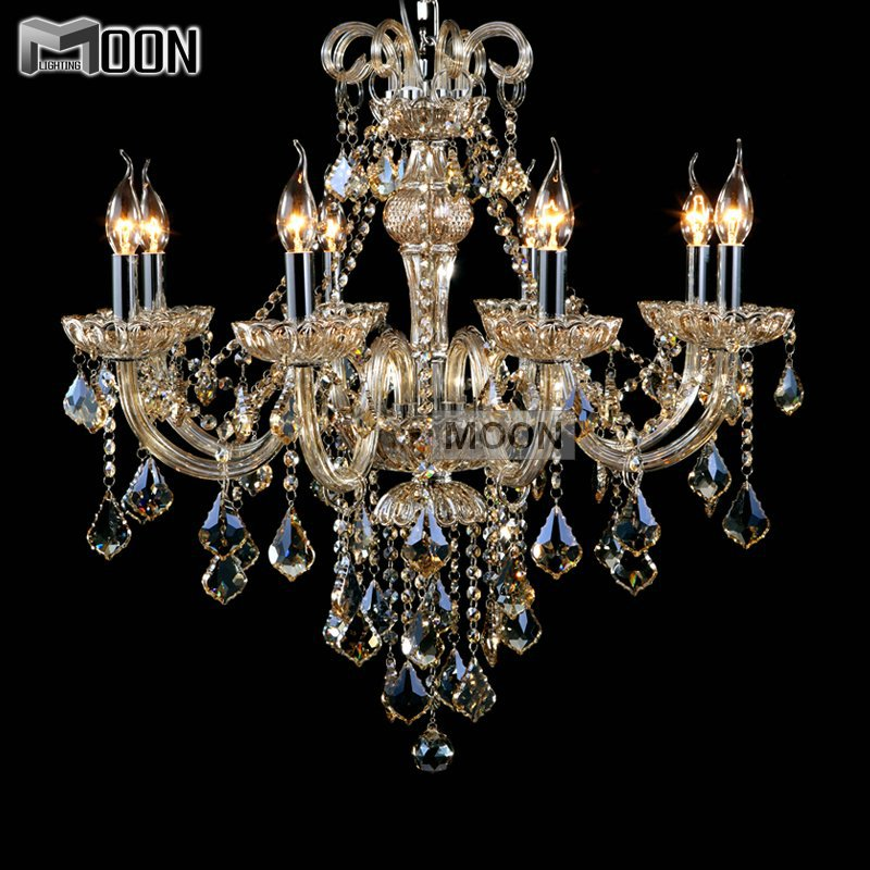 8 lights elegant retro chandelier lighting cognac cristal lustre chandelir glass hanging light. Black Bedroom Furniture Sets. Home Design Ideas