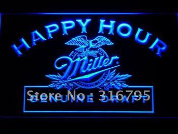 613-b Miller Beer Happy Hour Bar Pub LED Neon Light Sign