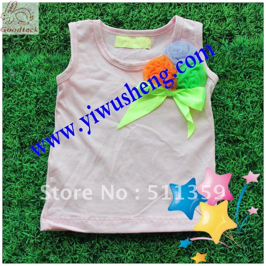 girl's pettitops fashion girl' t-shirts 2012 new design pettitops 30 pcs mix colors(China (Mainland))