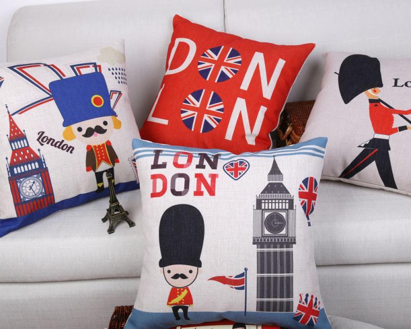 Free Shipping I Love London Soldier Nodic Cotton Linen Fabric Decorative Cushion 45cm Hot Sale New Home Fashion Christmas Pillow