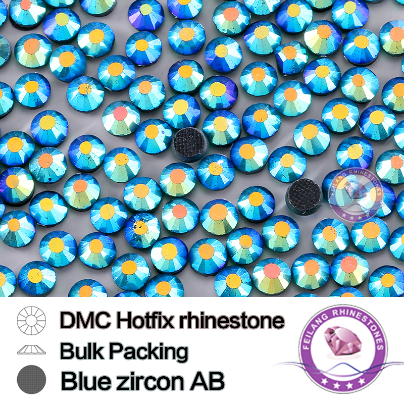 Blue Zircon AB Size SS16 SS20 SS30 Bulking Packing Round Flatback Glass DMC Hotfix Rhinestone For Garments Bags And Shoes(China (Mainland))